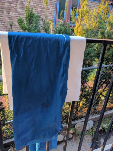 fresh out of the dye pot and drying on my kitchen porch